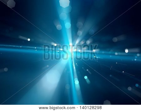 Blue glowing interstellar travel or fiber optics with particles computer generated abstract background