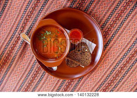 Beautiful served table in Ukrainian style Carpathians Ukraine