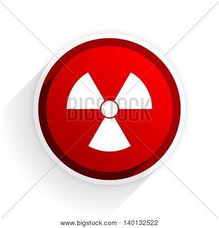 radiation flat icon with shadow on white background, red modern design web element