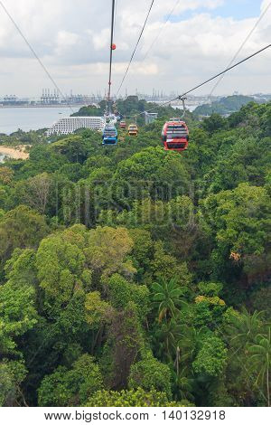 The Singapore cable car in Sentosa island