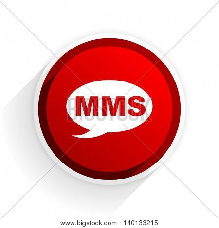 mms flat icon with shadow on white background, red modern design web element