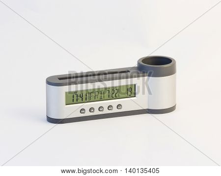 Office holder with clock for pens and pencils