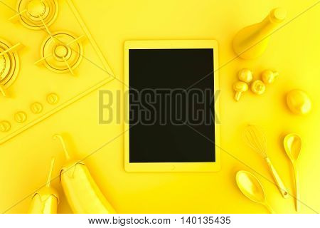 Tablet computer with collection of vegetables and kitchen utensils on top of the table. 3D illustration. Yellow