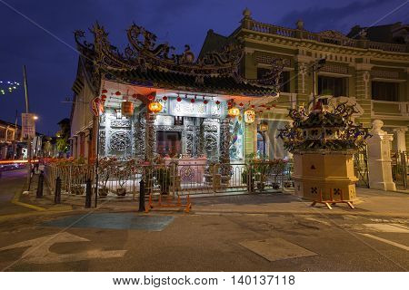 Dusk View Of The Choo Chay Keong Temple, Penang