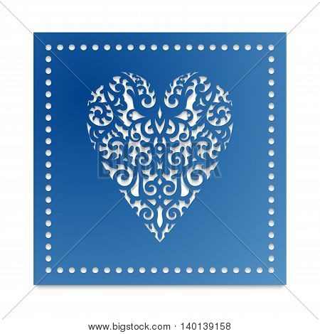 Template card heart with flowers for laser cutting, scrapbooking. Roses and wedding leaves, save the date, Valentine's Day. Stencil for paper, plastic, wood.