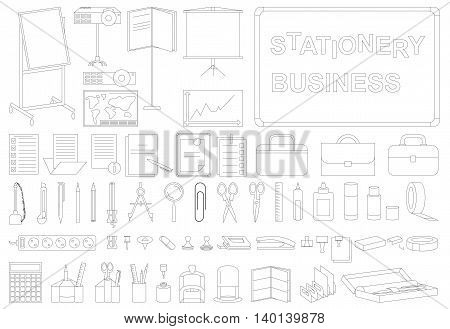 icons on white background outline on the subject of business stationery