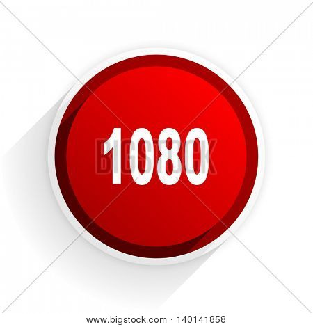 1080 flat icon with shadow on white background, red modern design web element
