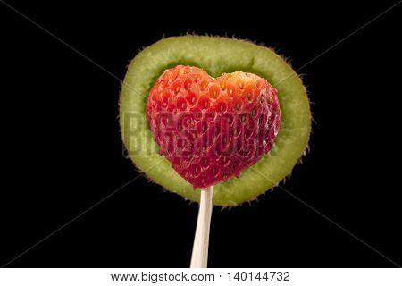 designed kiwi shelf and strawberry on stick