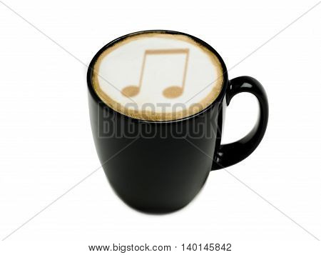 musical cappuccino isolated on a white background