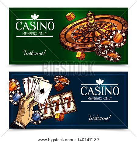 Colorful sketch casino advertising horizontal banners with invitation and greeting for members only vector illustration