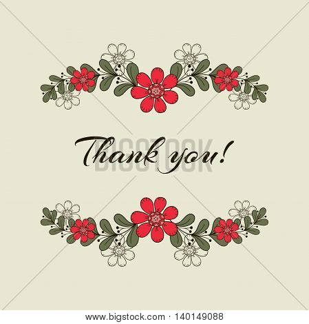 Postcard with hand drawn red flowers. Vector illustration.