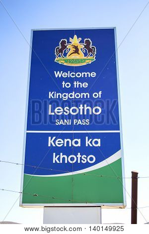 Sani Pass, Lesotho - July 15, 2016: The sign next to the Lesotho border