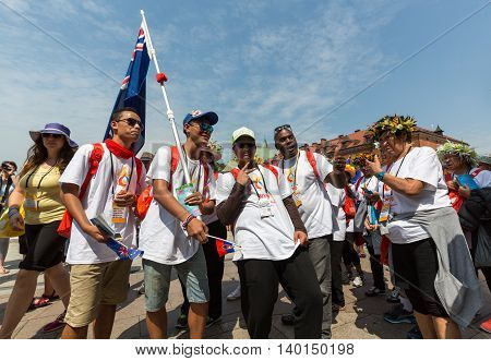 CRACOW POLAND - JULY 26 2016: World Youth Day 2016 - Pilgrims from Cook Island in the Sanctuary of Divine Mercy in Lagiewniki. Cracow Poland