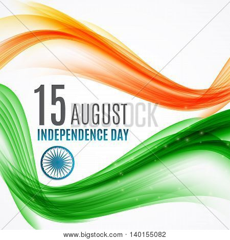 Indian Independence Day Background with Waves and Ashoka Wheel. Vector Illustration. EPS10