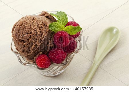 image of chocolate ice cream with raspberry