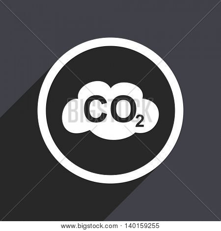 Flat design gray carbon dioxide vector icon