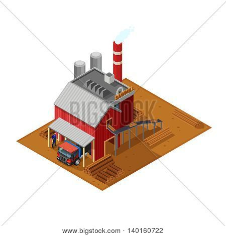 Lumberjack isometric concept with sawmill house timber truck sawn wood and driver monitoring unloading flat vector illustration