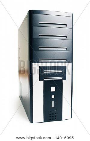 Black computer case over white
