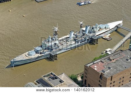 Aerial view of HMS Belfast and Thames river in London UK