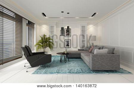 Comfortable modern white living room interior with a sofa and chairs on a blue carpet on a hardwood floor overlooked by large windows with Venetian blinds, 3d rendering