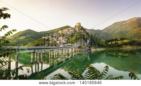 pictorial landscape - lake Turano and village Castel di Tora, Italy