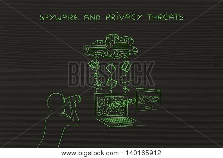 man with binoculars spying on data trasmission from a laptop to cloud concept of spyware and malware threats