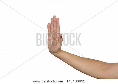 Woman's hands show signs of picking up refuse or stop isolated on white background.