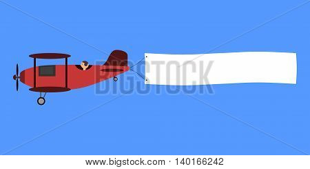 Red biplane with poster. The airplane with poster ís flying isolated on blue sky. Vector illustration in cartoon style.