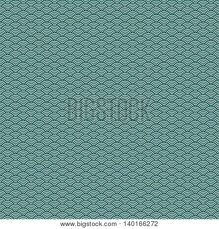 Green japanese wave seamless pattern background. Traditional oriental fabric or paper print decor for wrapping or packaging printing. Japan sea concept design. Vector illustration stock vector.