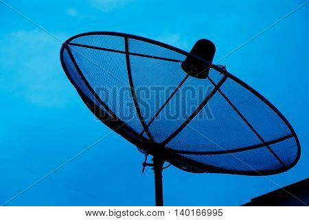 Close up satellite dish on sky background
