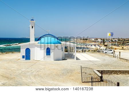 25 may 2016.In Ayia NAPA.The Church of Saint Thecla on the Mediterranean sea in Ayia NAPA. Cyprus.