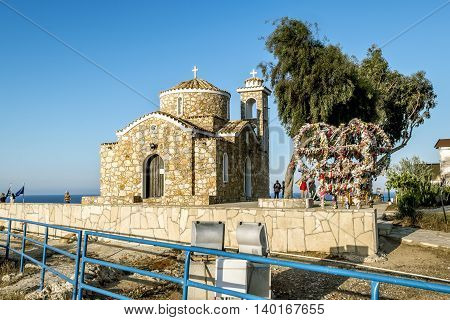 May 20 2016.Protaras.Church of St. Elijah on a rock in Protaras . Cyprus.