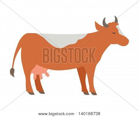 Cow illustration. Vector in flat style design. Domestic animal. Country inhabitants concept. Picture for farming, animal husbandry, milk production companies. Isolated on white background.