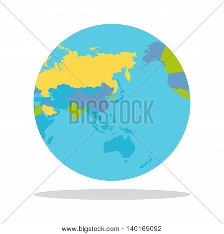 Planet Earth vector illustration. World Globe with political map. Countries silhouettes on the planet surface. Global world concept. Asia, East, India, Indochina, Australia, Indian and Pacific oceans.