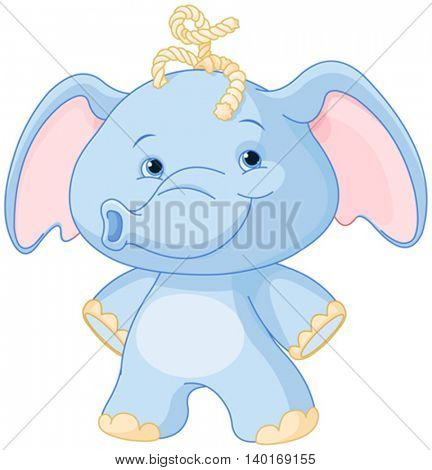 Illustration of baby elephant smiling