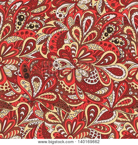 seamless pattern ethnic floral rosy and brown