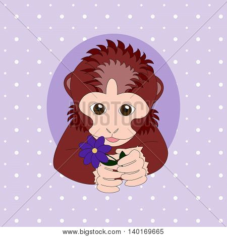 Monkey holding a purple flower. Print for cards children's books clothes