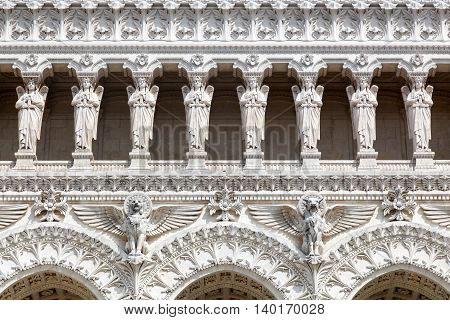 Details of the of Notre-Dame de Fourviere in Lyon, France