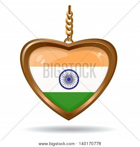 Flag of the India inside of a gold medallion. Vector illustration isolated on white background