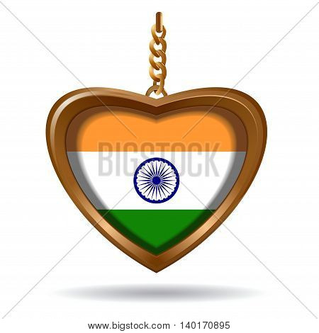 Gold medallion in the shape of a heart with National India flag inside. Vector illustration