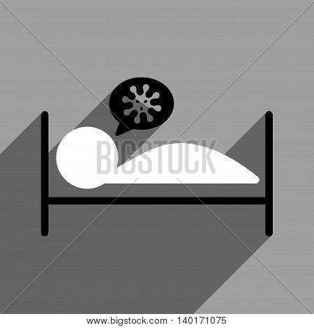 Infected Patient Bed long shadow vector icon. Style is a flat infected patient bed black and white iconic symbol on a gray square background.