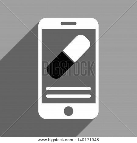 Medication Mobile Information long shadow vector icon. Style is a flat medication mobile information black and white iconic symbol on a gray square background.