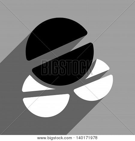 Medication Tablets long shadow vector icon. Style is a flat medication tablets black and white iconic symbol on a gray square background.