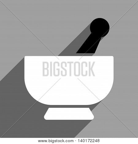 Mortar long shadow vector icon. Style is a flat mortar black and white iconic symbol on a gray square background.