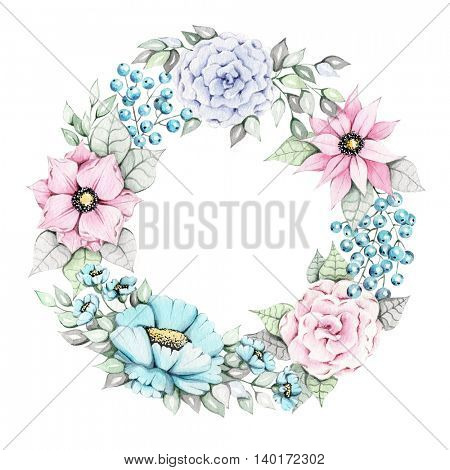 Watercolor illustration of hand painted floral logo