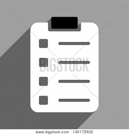 Pad Form long shadow vector icon. Style is a flat pad form black and white iconic symbol on a gray square background.