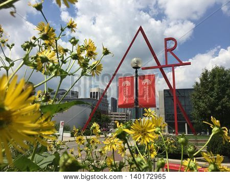 COLUMBUS, OHIO - JULY 27, 2016:  The red art sign welcomes visitors the the Columbus School of Art and design.