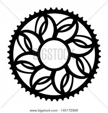 vintage bicycle cogwheel chainwheel symbol vector