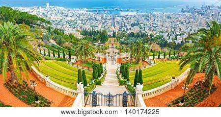 The amazing Bahai Gardens are the notable city landmark located on the of Carmel Mount Haifa Israel.