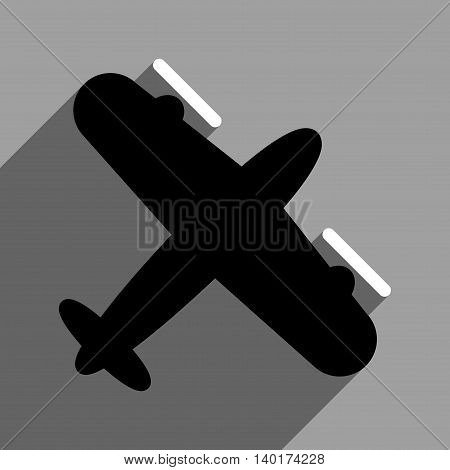 Screw Aeroplane long shadow vector icon. Style is a flat screw aeroplane black and white iconic symbol on a gray square background.